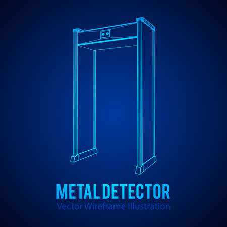 Wire-frame poly mesh vector illustration. Airport security gates with metal detectors.