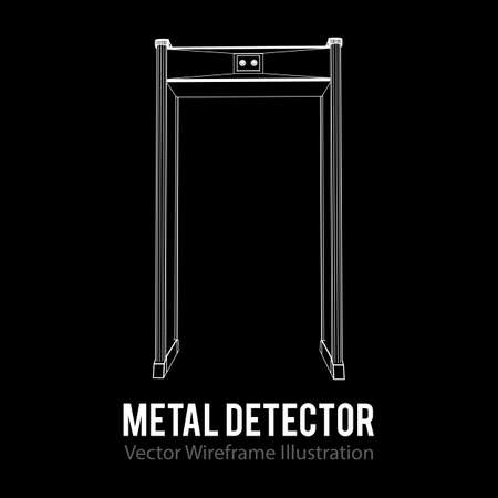 Metal detector scanner. Wireframe poly mesh vector illustration. Airport security gates with metal detectors. Walk through detector concept.