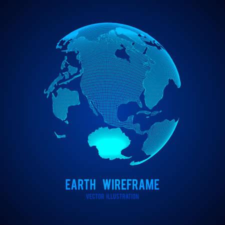 Wireframe planet Earth globe 向量圖像