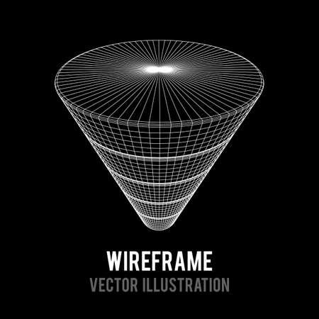 Wireframe Funnel Sales Diagram Illustration