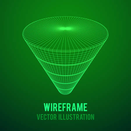 Wireframe Funnel Sales Diagram Illustration