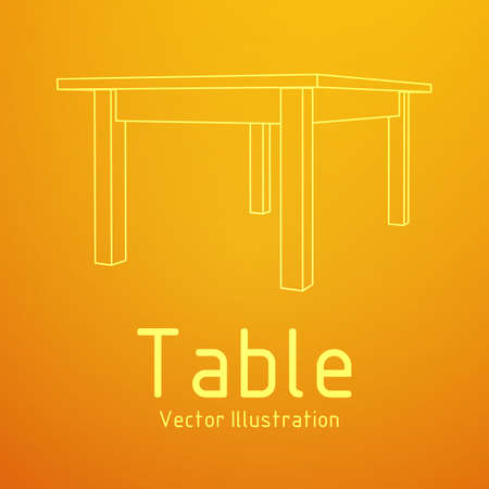 Table furniture wireframe Illusztráció