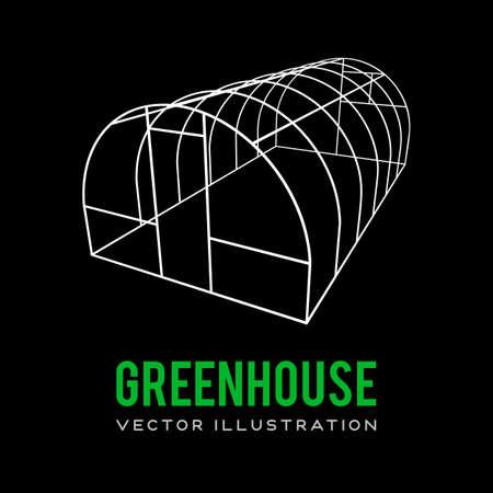 温室建設フレーム。  イラスト・ベクター素材