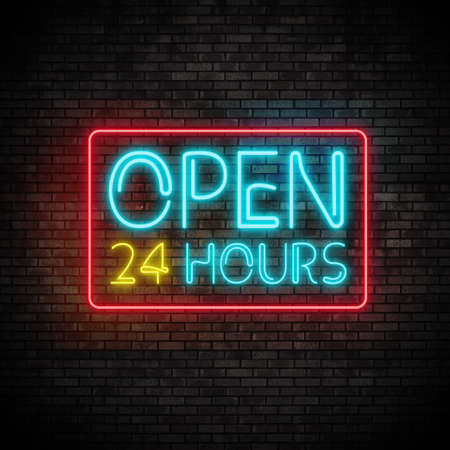 Open 24 Hours Neon Light on Brick Wall Stok Fotoğraf