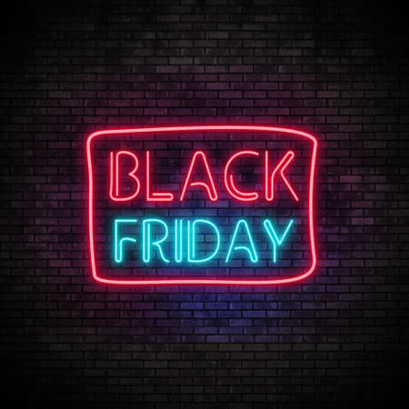 Black Friday Neon Light on Brick Wall Stock Photo