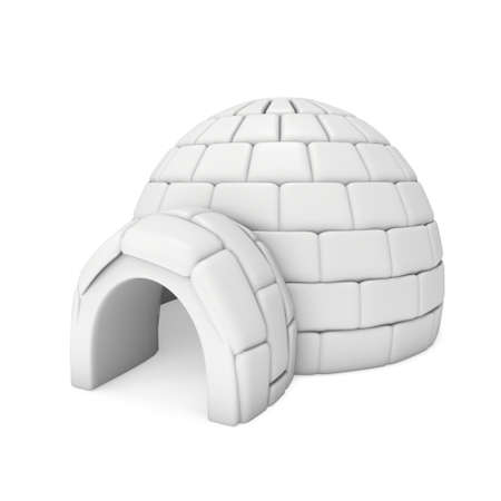 Igloo icehouse isolated on white background 3d render illustration. Snowhouse or snowhut. Eskimo shelter built of ice Stock Photo