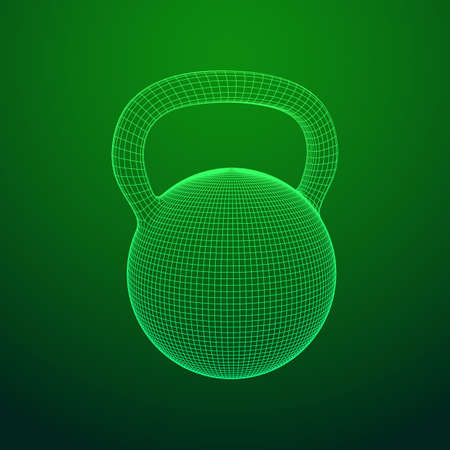 Heavy kettle bell isolated on green background