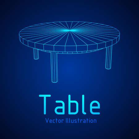 Round table furniture wireframe blueprint. Illusztráció
