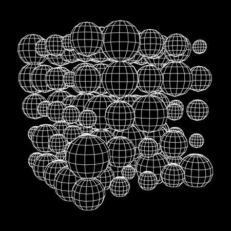 Wireframe Mesh Cube make with many small spheres. Connection Structure. Digital Data Visualization Concept. Vector Illustration.