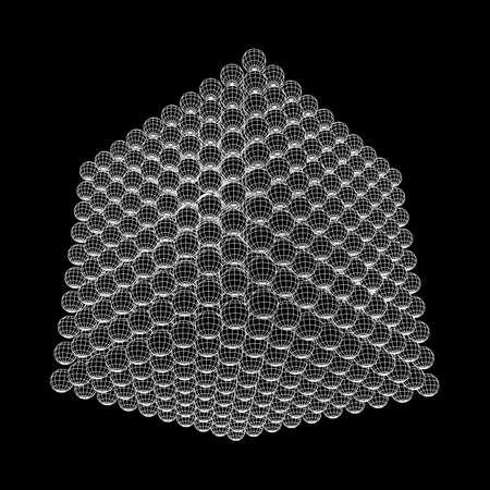 Wireframe Mesh Cube maken met veel kleine bollen. Verbindingsstructuur. Digital Data Visualization Concept. Vector illustratie.