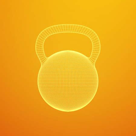 Heavy kettle bell. Wireframe mesh vector. Modern sport fitness concept