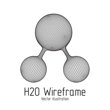 Wireframe Mesh H2O Molecule