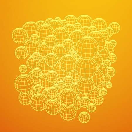 Wireframe Sphere Mesh Cube.