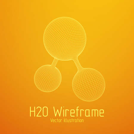 Wireframe Mesh H2O Molecule