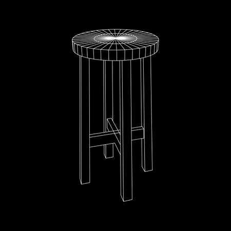 Bar stool furniture wireframe blueprint