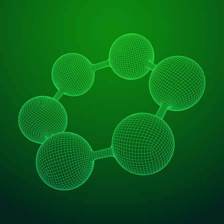 Wireframe Mesh Hexagon Molekül