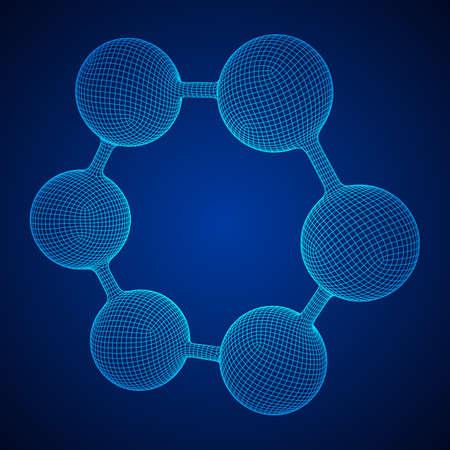 Wireframe Mesh Hexagon Molecule
