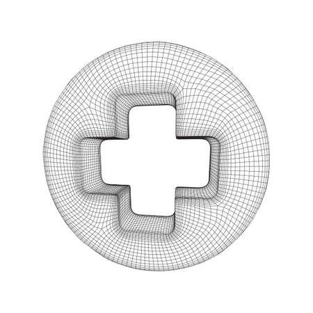 First aid medical cross wireframe Ilustração