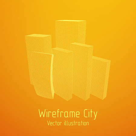 Mesh Cubes City Array Illustration