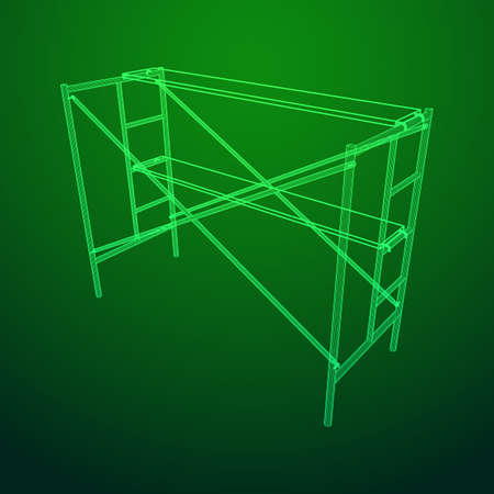 Scaffolding construction furniture wireframe blueprint. Linear outline illustration  イラスト・ベクター素材