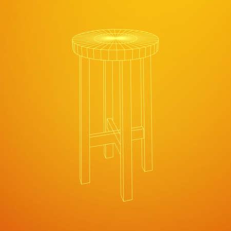 Bar stool furniture wireframe blueprint