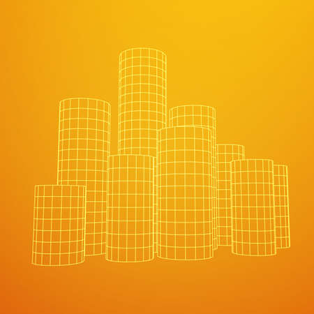 Mesh low poly wireframe Cylinder array like skyscraper city. Connected lines. Connection Box Structure. Digital Data Visualization Concept. Vector Illustration. Illustration