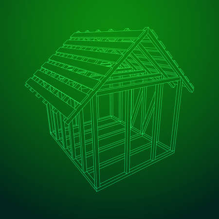 Abstract architecture building. Plan of modern framing house. Wireframe low poly mesh construction.