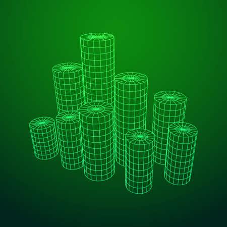 Mesh Cylinder City Array Stock Photo