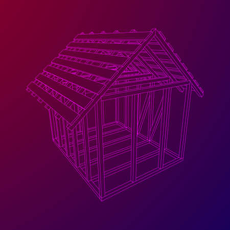 Wireframe framing house Vector illustration.