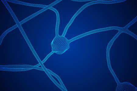 Neuron system wireframe mesh model