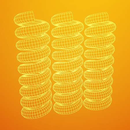 Wire-frame low poly mesh tension helix spring, vector illustration.