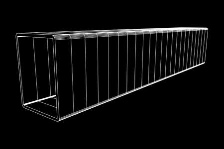 Wire-frame low poly mesh construction metallurgy square tube profile symbol, vector illustration.