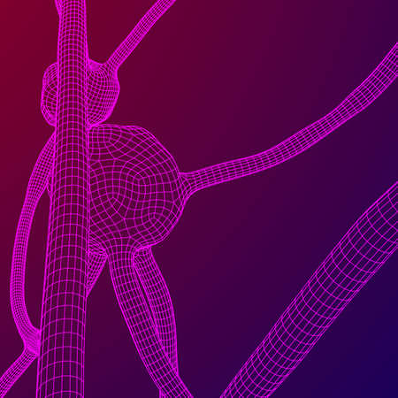 Neuron system wire-frame mesh model. Low poly vector illustration. Science and medical healthcare concept. Illustration