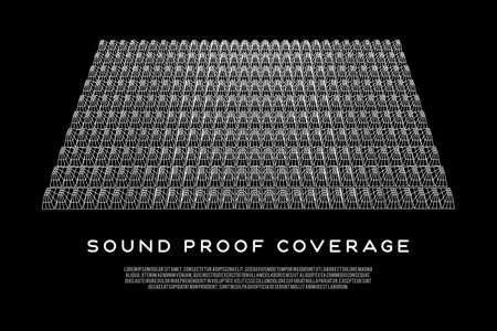 Wireframe model of sound proof coverage