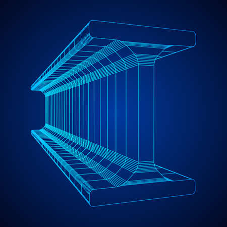 Wireframe metallurgy beam Illustration