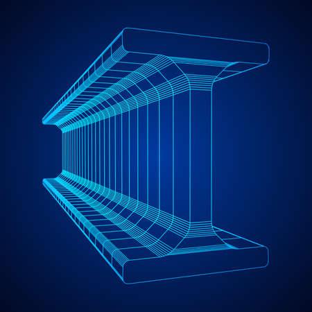 Wireframe metallurgy beam Ilustração