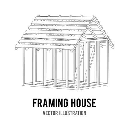 Bâtiment de l'architecture abstraite. Plan de maison d'encadrement moderne. Maison de construction de treillis métallique de poly basse armature. Vecteurs