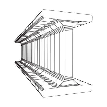 Wireframe low poly mesh construction metallurgy beam profile symbol vector illustration