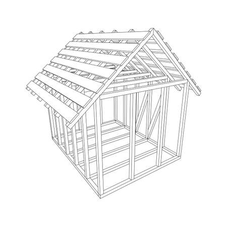 Abstract architecture building. Plan of modern framing house. Wireframe low poly mesh construction home.