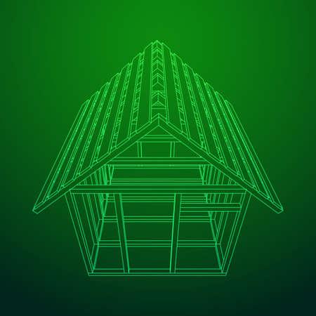 Wireframe framing house illustration.