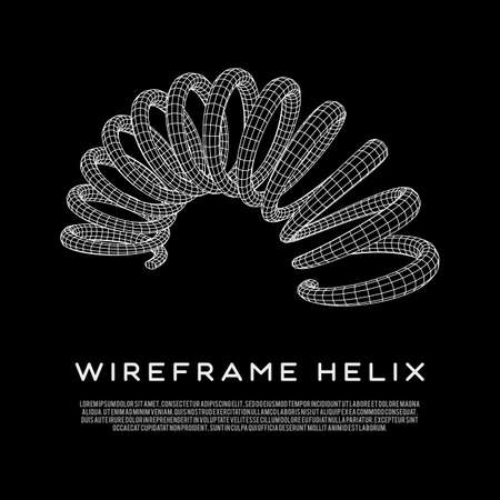 Wireframe helix spring. Vettoriali