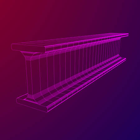 Wireframe low poly mesh construction metallurgy beam profile symbol vector illustration