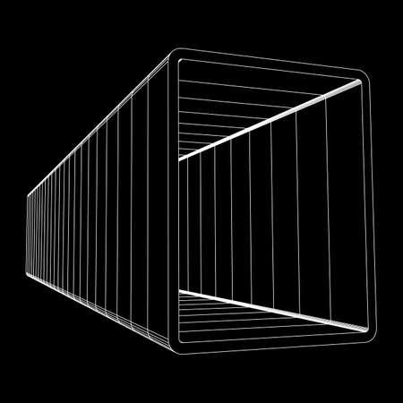 Wireframe metallurgy square tube Vector illustration. Illustration