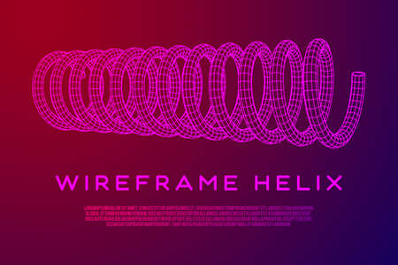 Wireframe helix spring Vector illustration.