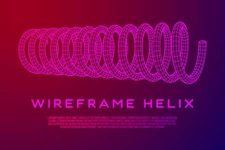 Wireframe helix spring Vector illustration.