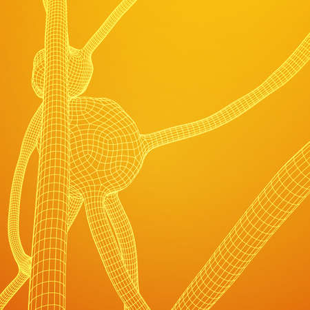 Neuron system wireframe mesh model. Low poly vector illustration. Science and medical healthcare concept