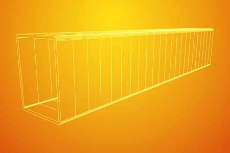 Wireframe low poly mesh construction metallurgy square tube profile symbol vector illustration