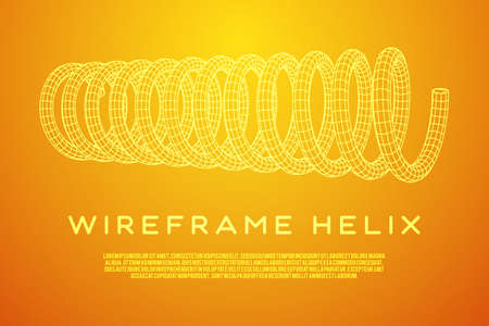 Wire frame helix spring illustration. Illustration