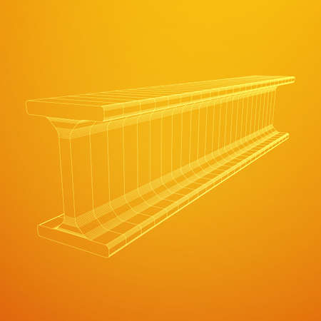 Wire frame metallurgy beam illustration. Illustration