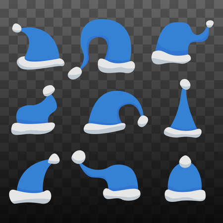 Set of Santa Claus Hats on black transparent background. Winter Merry christmas and new year celebration vector illustration.  イラスト・ベクター素材